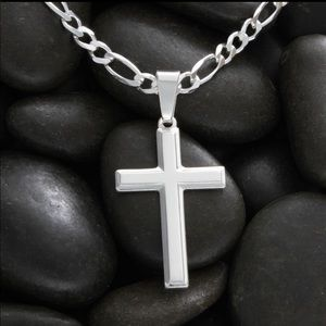 Men's Sterling Silver Cross Necklace with Chain